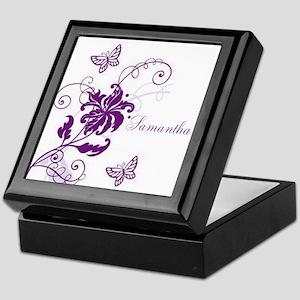 Purple Butterflies and Vines Keepsake Box