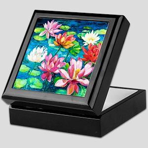 Water Lily Oil Painting Keepsake Box