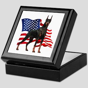 American Flag Doberman Keepsake Box