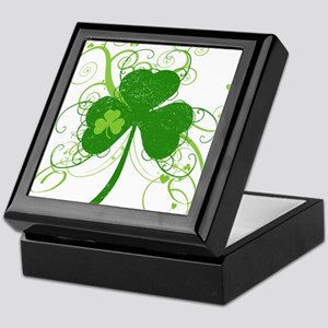 St Paddys Day Fancy Shamrock Keepsake Box