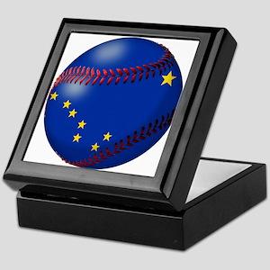 Baseball Alaska Flag Keepsake Box