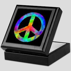 Multicolored Peace Sign Keepsake Box