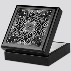 Black White Silver Geometry Keepsake Box