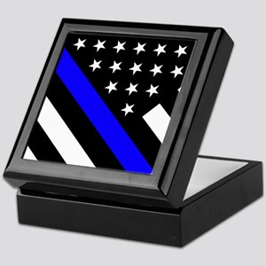 Police Flag: Thin Blue Line Keepsake Box
