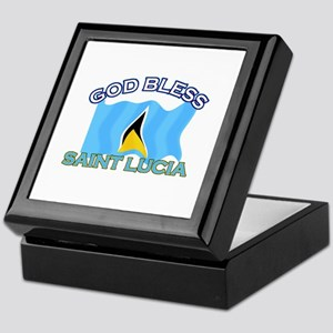 Patriotic Saint Lucia designs Keepsake Box
