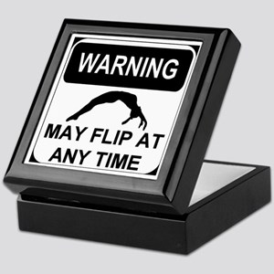 Warning May Flip Gymanstics Keepsake Box