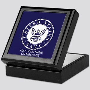 Personalized Us Navy Blue White Keepsake Box