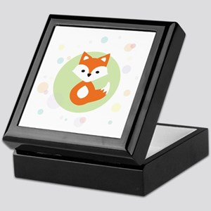 Cute Fox in Circle Keepsake Box