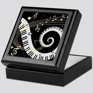 Mixed Musical Notes (black go Keepsake Box