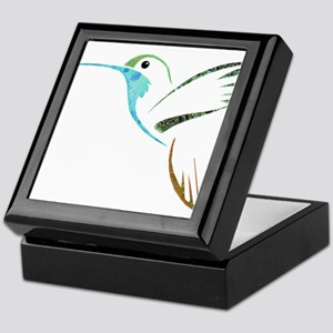 Blue and Green Patchwork Hummingbird Keepsake Box