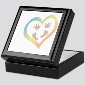 Baby Hands and Feet in Heart Keepsake Box