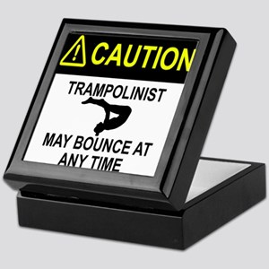 Caution Trampolinist Keepsake Box
