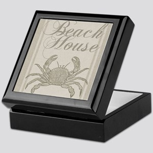 Beach House Crab Sandy Coastal Decor Keepsake Box