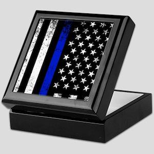Vertical distressed police flag Keepsake Box