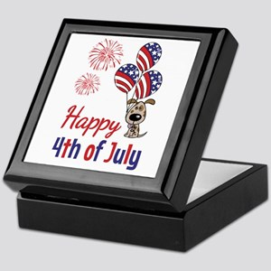 Happy 4th Doggy with Balloons Keepsake Box