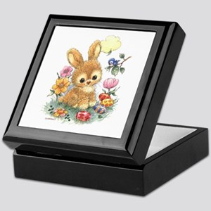 Cute Easter Bunny With Flowers And Keepsake Box