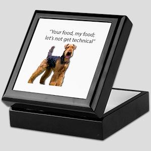 Your Food - My Food Airedale Keepsake Box