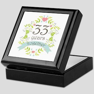 33rd Anniversary flowers and hearts Keepsake Box