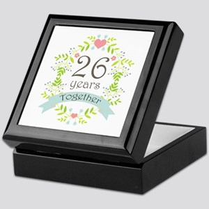 26th Anniversary flowers and hearts Keepsake Box
