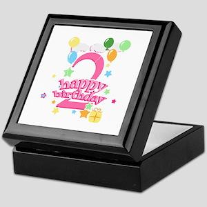 2nd Birthday with Balloons - Pink Keepsake Box