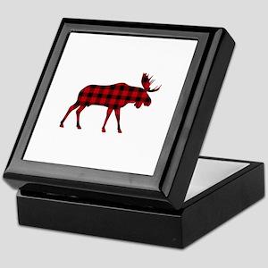 Plaid Moose Animal Silhouette Keepsake Box