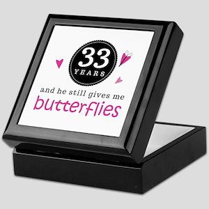 33rd Anniversary Butterflies Keepsake Box