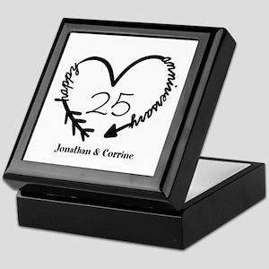 Custom Anniversary Doodle Heart Keepsake Box