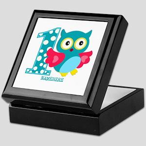 Cute First Birthday Owl Keepsake Box