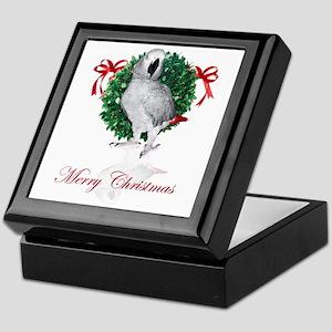 african grey christmas Keepsake Box
