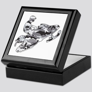 Camoflage Snowmobiler in Grey Keepsake Box