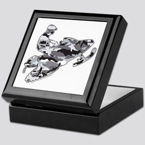 Camouflage Grey Snowmobiler Keepsake Box