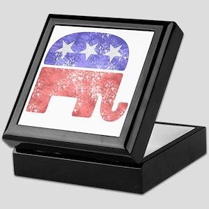 2-RepublicanLogoTexturedGreyBackgroun Keepsake Box