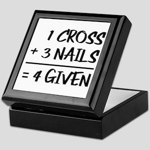 One Cross Plus Three Nails Equals For Keepsake Box