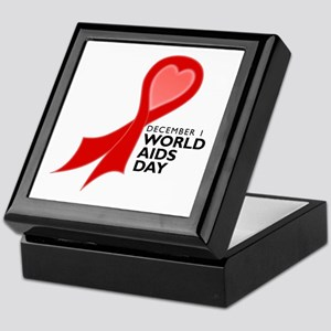 Worlds AIDS Day Red Ribbon Keepsake Box