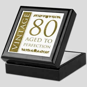 Fancy Vintage 80th Birthday Keepsake Box