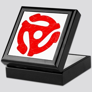 Red Distressed 45 RPM Adapter Keepsake Box