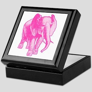 Pink Elephant Illustration Keepsake Box