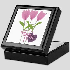 Pink Tulip Monogram Keepsake Box