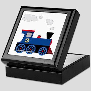 train age 2 blue black Keepsake Box