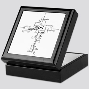 Christian cross word collage Keepsake Box