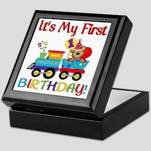 first birthday train Keepsake Box
