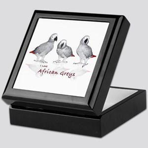 african grey parrots Keepsake Box