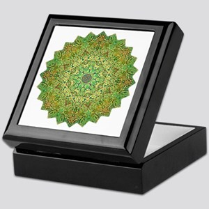 Green Gold Heart Chakra Mandala Yoga  Keepsake Box