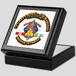 1st Bn - 4th Marines w VN SVC Ribbon Keepsake Box
