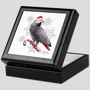 Christmas African Grey Parrot Keepsake Box