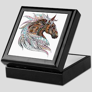 Warm colors horse drawing Keepsake Box
