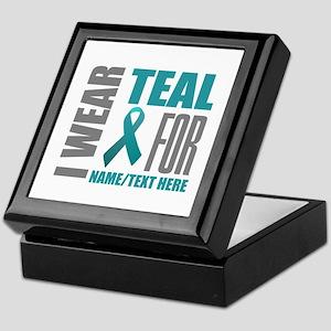 Teal Awareness Ribbon Customized Keepsake Box