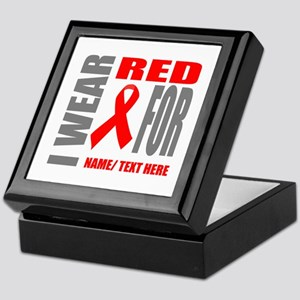 Red Awareness Ribbon Customized Keepsake Box