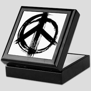 Peace sign - black Keepsake Box