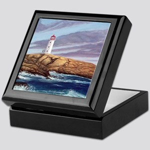 Peggys Cove Lighthouse clock Keepsake Box